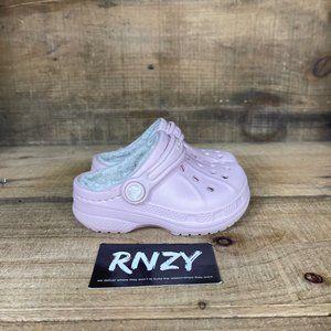 Crocs Fleece Lined Pink Toddler Classic Clogs